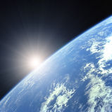 солнце земли поднимая бесплатная иллюстрация
