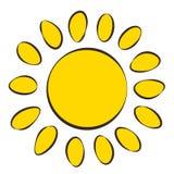 Солнце, значок, стиль чертежа ` s детей иллюстрация вектора