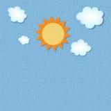 Солнце и вектор предпосылки grunge облака ретро Стоковая Фотография