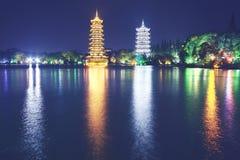 Солнце и пагоды башни луны в Guilin, Китае Стоковые Фото