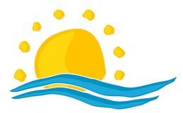 Солнце и символ моря стоковое фото