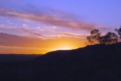 солнце каньона установленное королями Стоковое Фото