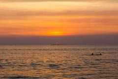 Солнце ландшафта установленное на пляж Стоковое Изображение RF