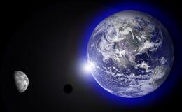 солнце луны поднимая Стоковое Изображение