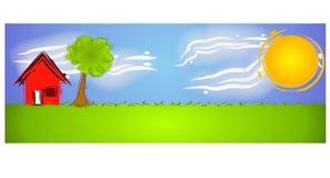 солнце места абстрактной дома сельское иллюстрация штока