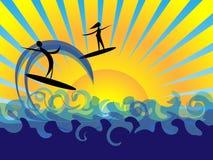солнце моря потехи предпосылки Стоковая Фотография