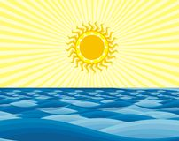 солнце моря Стоковые Изображения