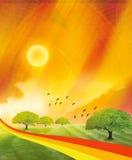 солнце пейзажа подъема Стоковое Изображение RF