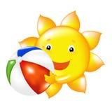 солнце пляжа шарика иллюстрация вектора