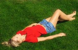 солнце под женщиной Стоковые Изображения RF