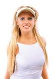 солнце предохранения от портрета девушки головное пиковое Стоковая Фотография