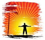 солнце предпосылки установленное Стоковая Фотография