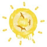 солнце птицы иллюстрация штока
