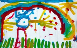Солнце радуги человека чертежа Childs Стоковая Фотография