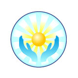 солнце рук Стоковое Изображение
