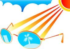 солнце стекел пляжа Стоковое Изображение