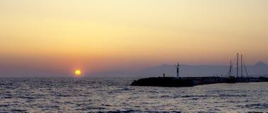 Солнце установило в Грецию Стоковая Фотография RF