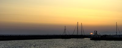 Солнце установило в Грецию Стоковая Фотография