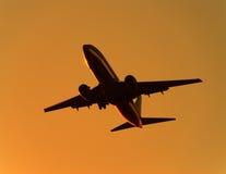солнце утра двигателя самолета вниз Стоковые Изображения