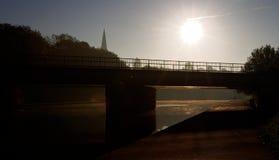 Солнце утра зимы на реке Exe, Великобритании стоковая фотография