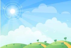 солнце холма Стоковые Изображения
