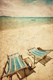 солнце 2 стулов пляжа Стоковое фото RF
