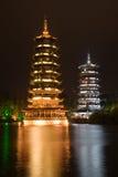 солнце pagodas луны Стоковые Фотографии RF