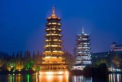 солнце pagodas луны Стоковые Изображения