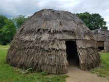 Солома Брайна или деревянный дом или хата с дверью стоковые фото
