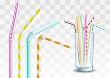 Солома вектора пластиковая в стеклянном наборе чашки бесплатная иллюстрация