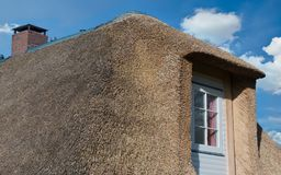 Соломенная крыша на побережье Северного моря в крупном плане стоковая фотография