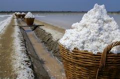 Соль в bamboo корзине Стоковые Изображения