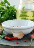 соль перца чесночное маслоо chili прованское Стоковые Фотографии RF
