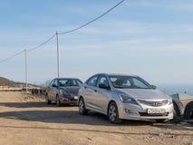 Солярис Hyundai автомобиля припаркован в природе Акцент Giad/Hyundai Avega/Brio Hyundai/додж Verna стоковое изображение rf