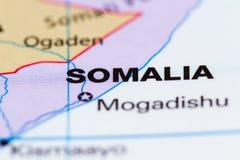Сомали на карте Стоковая Фотография