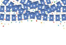 Сомали сигнализирует предпосылку гирлянды белую с confetti иллюстрация штока