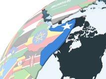 Сомали с флагом на глобусе иллюстрация штока
