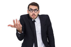 Сомнительный бизнесмен с показывать стекел Стоковые Фотографии RF