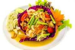 Сом Tam Зеленый салат папапайи Стоковое фото RF