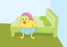Сонное бодрствование цыпленка вверх от сна в иллюстрации комнаты кровати Стоковое фото RF