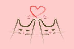Сонные коты в влюбленности Стоковое Фото