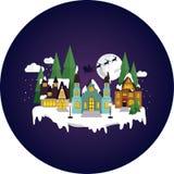 Сонный, снежный городок ночью рождества иллюстрация штока