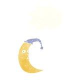 сонный шарж луны с пузырем мысли Стоковое фото RF