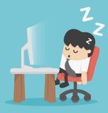 Сон бизнесмена на его офисе иллюстрация штока