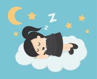 Сон бизнес-леди на облаке Стоковое Фото