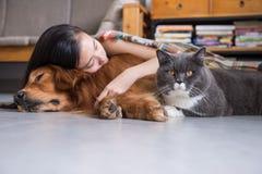 Сон девушек с котами и собаками Стоковая Фотография RF