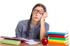 Сон девушки на таблице Стоковое Изображение RF