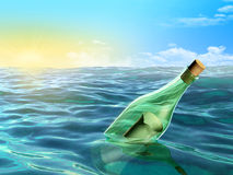 сообщение бутылки Стоковые Фотографии RF