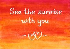 Сообщение видит восход солнца с вами на пылая backgroud неба стоковое фото rf