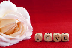 Сообщение влюбленности написанное в деревянных блоках Стоковое фото RF